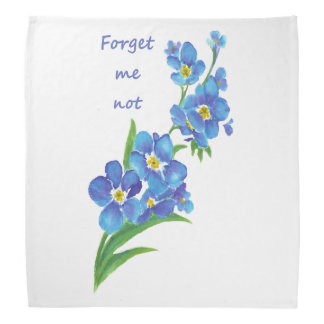 "Watercolor ""Forget me not"" Pretty Blue Flower Bandana"
