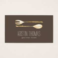 Watercolor Fork And Spoon Catering Business Card at Zazzle