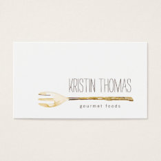 Watercolor Fork Catering, Chef, Food Business Card at Zazzle
