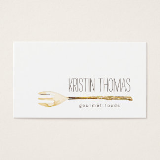 Watercolor Fork Catering, Chef, Food Business Card