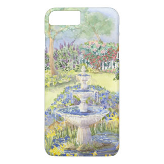 Watercolor Fountain Pond w Picket Fence Flowers iPhone 8 Plus/7 Plus Case