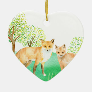 Watercolor fox and kit ceramic ornament