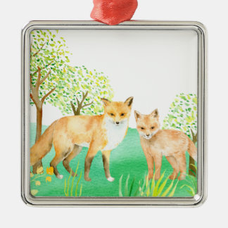 Watercolor fox and kit metal ornament
