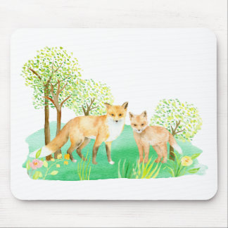 Watercolor fox and kit mouse pad
