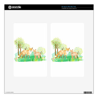 Watercolor fox and kit skins for kindle fire