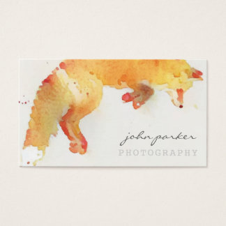 Watercolor fox business card