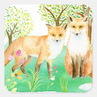 Watercolor fox couple art print square sticker
