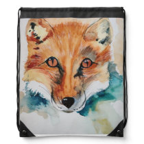 watercolor fox drawstring bag