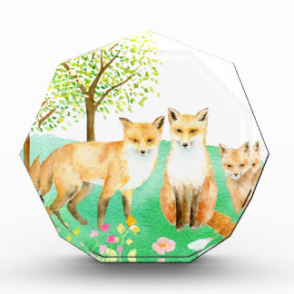 Watercolor fox family acrylic award