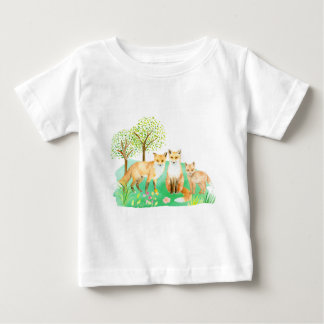 Watercolor fox family baby T-Shirt