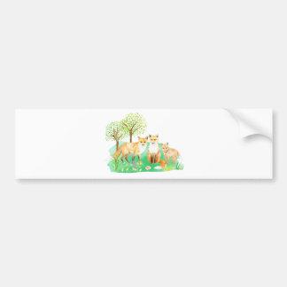 Watercolor fox family bumper sticker