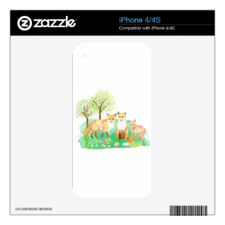 Watercolor fox family iPhone 4 decal