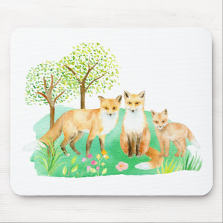 Watercolor fox family mouse pad