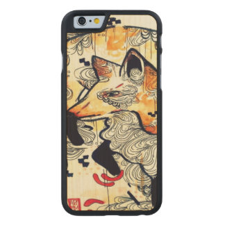 Watercolor fox, kitsune, ukioy-e art wood iPhone6 Carved® Maple iPhone 6 Slim Case