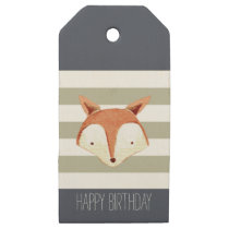 Watercolor Fox Navy Grey Stripes Wooden Gift Tags