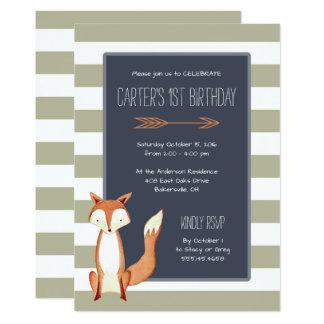 Watercolor Fox Navy Orange Stripes Birthday Card