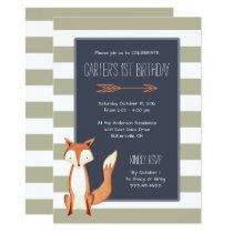 Watercolor Fox Navy Orange Stripes Birthday Invitation