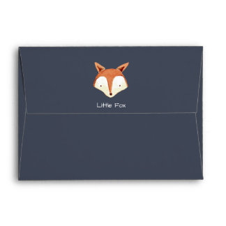 Watercolor Fox Navy Orange Stripes Envelope