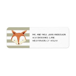 Watercolor Fox Navy Orange Stripes Label