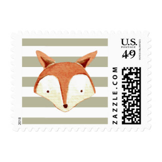 Watercolor Fox Navy Orange Stripes Postage