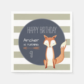 Watercolor Fox Navy Orange Woodland Birthday Napkin