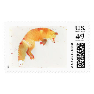 Watercolor fox painting postage