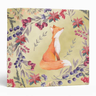 Watercolor Fox Winter Berries Gold 3 Ring Binder