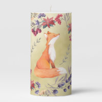 Watercolor Fox Winter Berries Gold Pillar Candle
