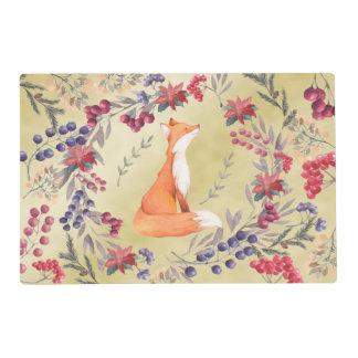 Watercolor Fox Winter Berries Gold Placemat