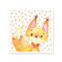Watercolor Fox Woodland Animal Gold Dot Napkins