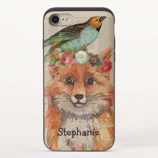 Watercolor Foxy Floral Friends Personalized Name iPhone 8/7 Slider Case