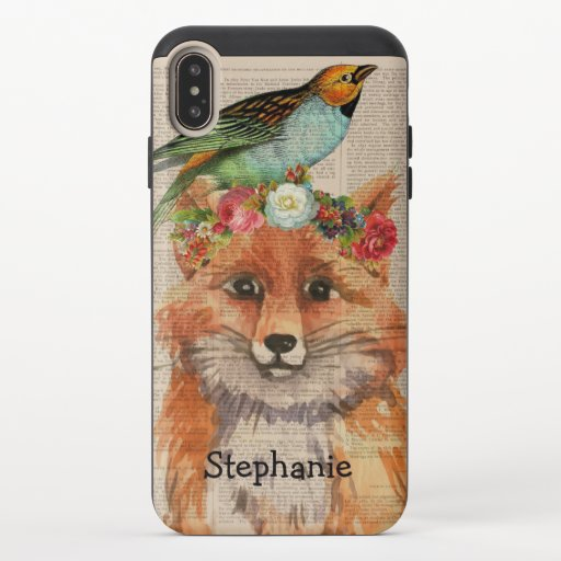 Watercolor Foxy Floral Friends Personalized Name iPhone XS Max Slider Case