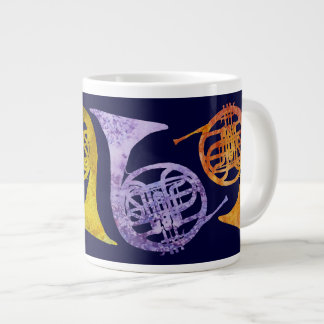 Watercolor French Horns Giant Coffee Mug