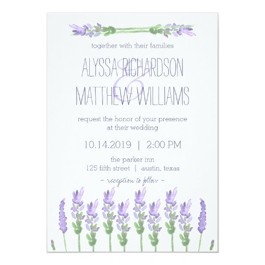Watercolor French Lavender On White Wedding Invitation