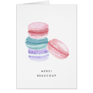 Watercolor French Macarons Thank You Card