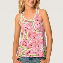 Watercolor Fresh Watermelon Slices Tank Top