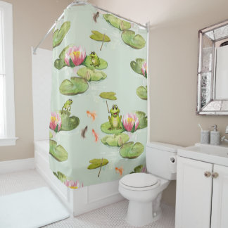 Watercolor Frog Pond Shower Curtain