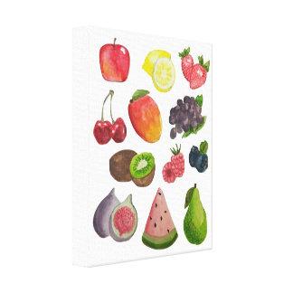 Watercolor Fruit Printed Canvas