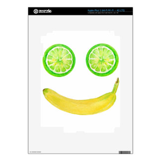 Watercolor fruit smiley face decal for iPad 3