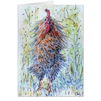 Watercolor Fun Rooster Greeting Card