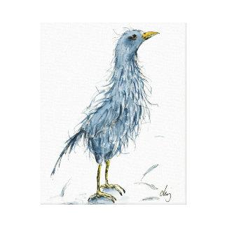Watercolor Funny Bird Bad Hair Day Canvas Print