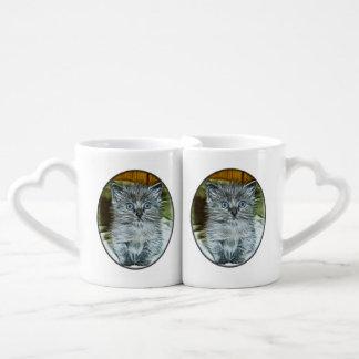 Watercolor Fuzzy Gray Blue-Eyed Kitten Lovers Mugs