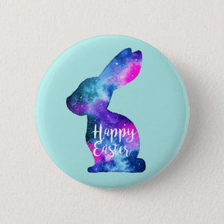 Watercolor Galaxy Rabbit Easter Button