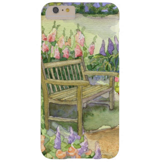 Watercolor Garden Bench w Bright Spring Flowers Barely There iPhone 6 Plus Case
