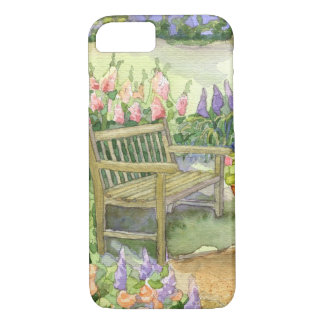 Watercolor Garden Bench w Bright Spring Flowers iPhone 7 Case