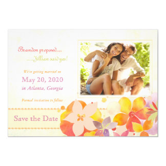 Watercolor Garden Floral Photo Save the Date Cards Personalized Invitations