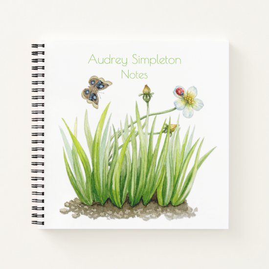 Watercolor Garden Flower Butterfly Grass Square | Notebook