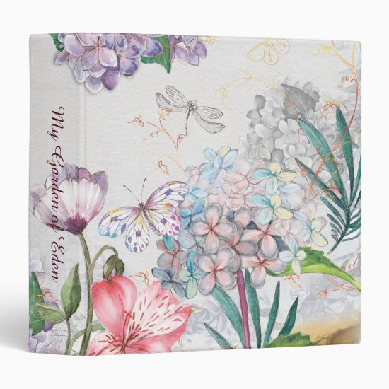 Watercolor Garden Flowers Butterfly Dragonfly 3 Ring Binder