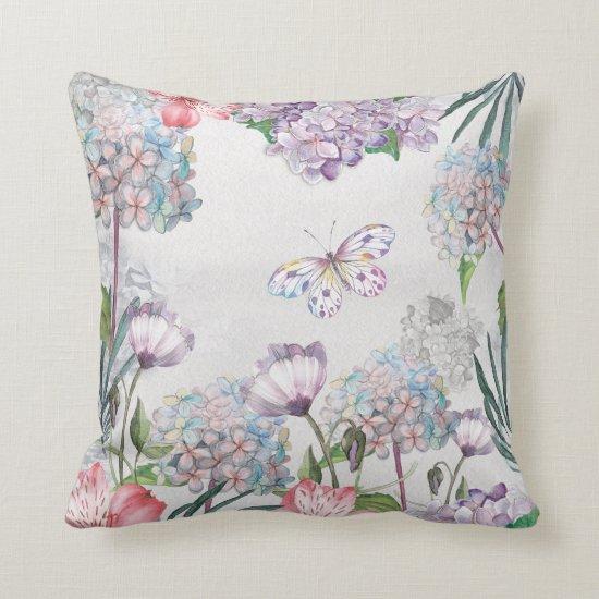 Watercolor Garden Flowers Butterfly Throw Pillow