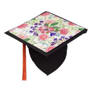 Watercolor garden flowers graduation cap topper